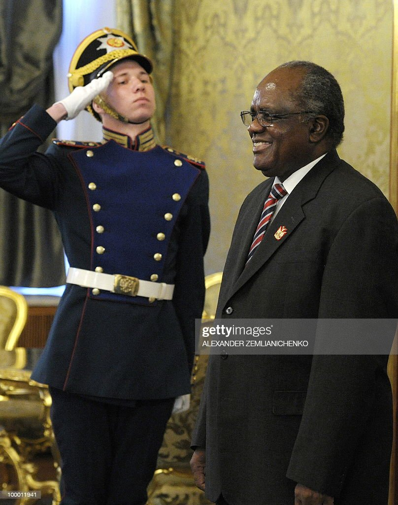 Namibian President Hifikepunye Pohamba enters a hall for talks with Russian President Dmitry Medvedev, unseen, at the Kremlin in Moscow on May 20, 2010. Russia and Namibia signed an agreement on exploration and production of uranium which could lead to Moscow investing one billion dollars in the resource-rich southern African country, officials said.