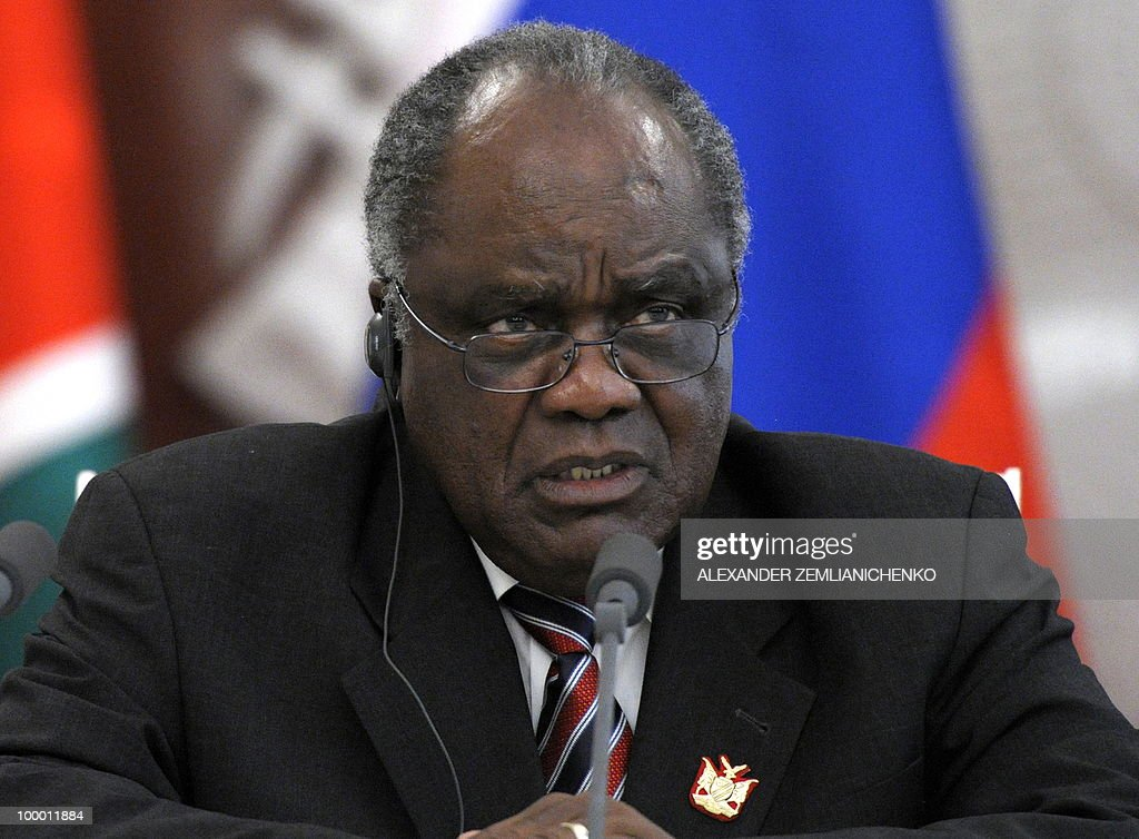 Namibian President Hifikepunye Pohamba speaks to the media during a press conference after talks with Russian President Dmitry Medvedev, unseen, at the Kremlin in Moscow on May 20, 2010. Russia and Namibia signed an agreement on exploration and production of uranium which could lead to Moscow investing one billion dollars in the resource-rich southern African country, officials said.