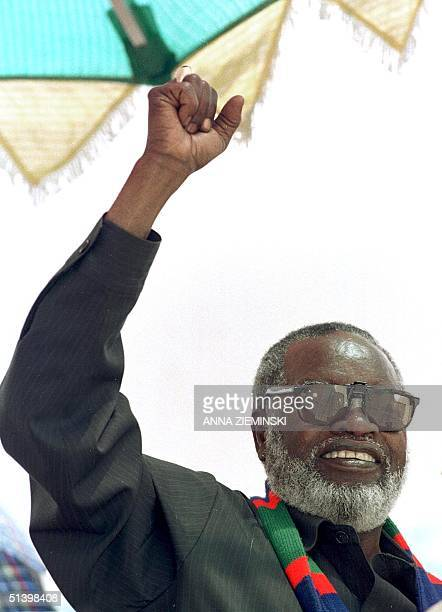 Namibian President Sam Nujoma, who also is the leader of the South West Africa People's Organization , greets a crowd of several thousand SWAPO...