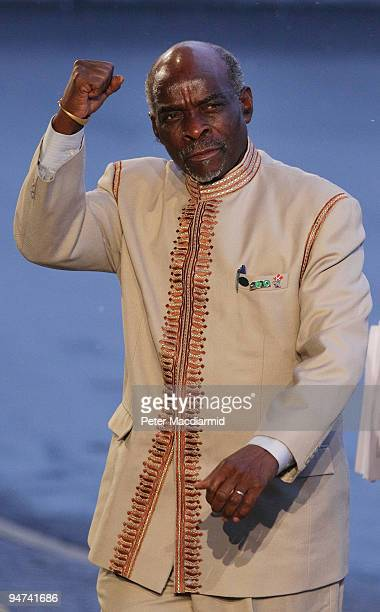 Namibian Prime Minister Nahas Angula gestures as he arrives for the final day of the UN Climate Change Conference on December 18 2009 in Copenhagen...