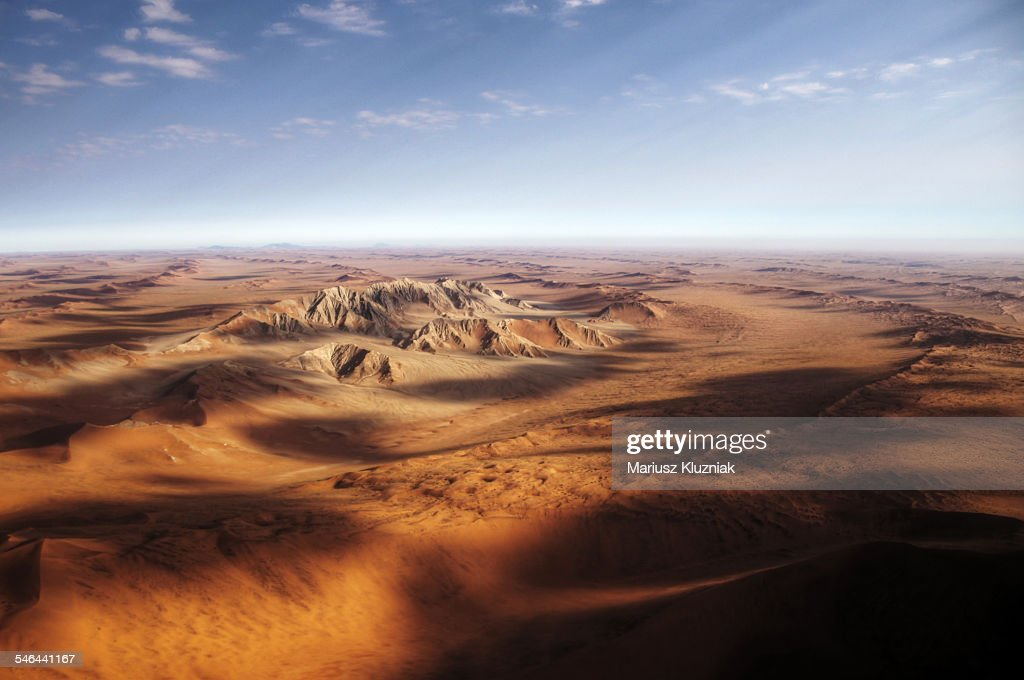Namibian sand dunes view from plane : Stock Photo