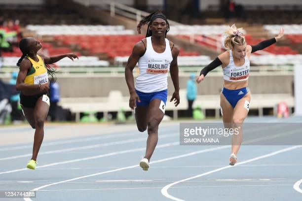 Namibia's Beatrice Masilingi places first in the semi-final of the women's 100m race as she competes with Jamaica's Kerrica Hill and Slovakia's...