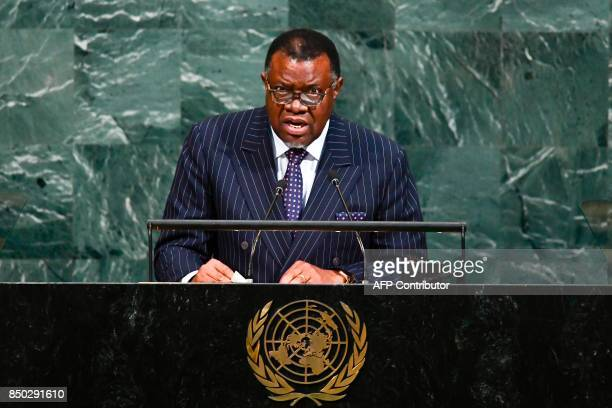 Namibia's President Hage Geingob addresses the 72nd Session of the UN General assembly at the United Nations in New York on September 20 2017 / AFP...
