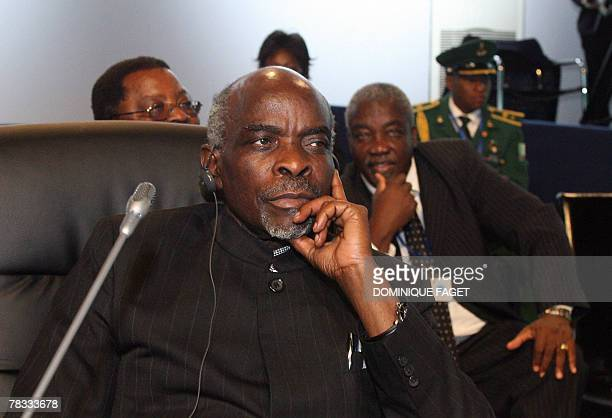 Namibia's Prime Minister Nahas Angula takes place for the first working session of a European Union and Africa summit 08 December 2007 in Lisbon The...