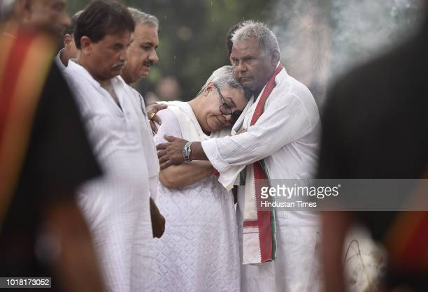 Namita Kaul Bhattacharya adopted daughter of Late Atal Bihari Vajpayee along with other family members seen during the cremation ceremony of former...