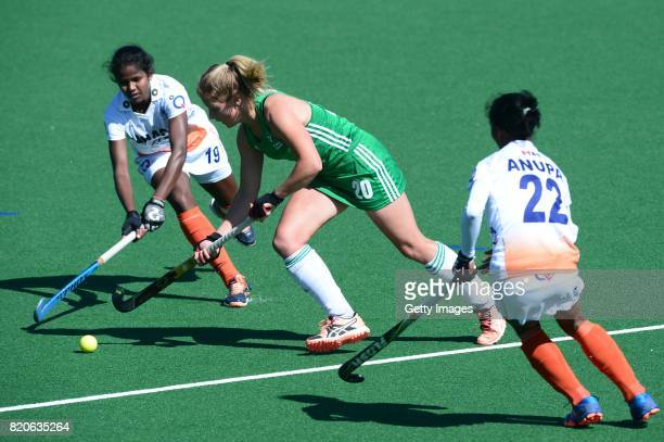 Namita Toppo of India tackles Chloe Wathins of Ireland during day 8 of the FIH Hockey World League Women's Semi Finals 7th8th place match between...