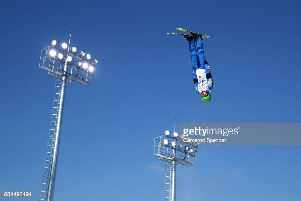 Namjeen Kim of Korea performs an aerial during qualification in the FIS Freestyle Ski World Cup 2016/17 Mens Aerials at Bokwang Snow Park on February...