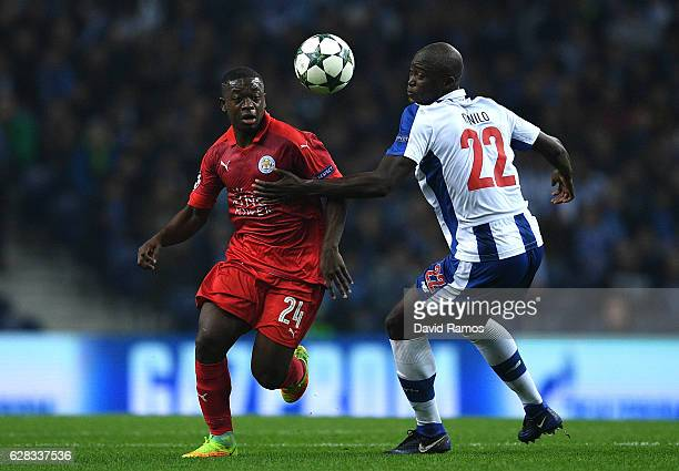 Nampalys Mendy of Leicester City attempts to take the ball past Danilo Pereira of FC Porto during the UEFA Champions League Group G match between FC...