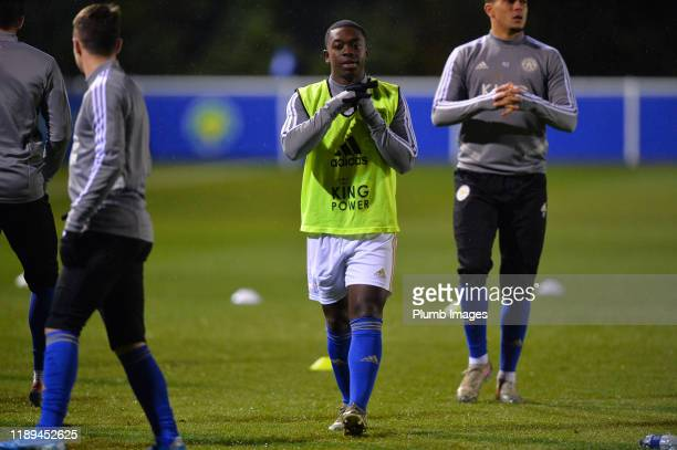 Nampalys Mendy of Leicester City warms up before the Leicester City U23 v Villarreal B PL International Cup at Holmes Park on December 18th 2019 in...