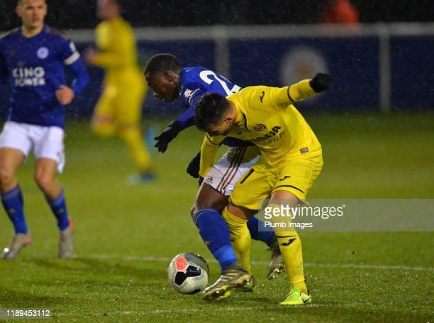 Nampalys Mendy of Leicester City with Daniel Villanueva Rivas of Villarreal during the Leicester City U23 v Villarreal B PL International Cup at...