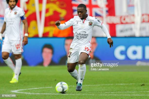 Nampalys Mendy of Nice during the Ligue 1 match between SM Caen and OGC Nice at Stade Michel D'Ornano on November 19 2017 in Caen