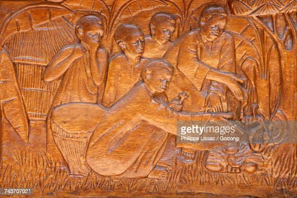 namugongo catholic martyrs shrine, kampala. church door relief. uganda. - martyrs of uganda catholic church stock pictures, royalty-free photos & images