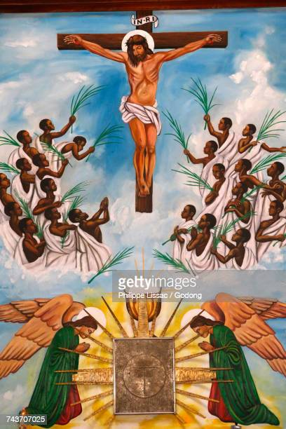 namugongo catholic martyrs shrine, kampala. church fresco. uganda. - martyrs of uganda catholic church stock pictures, royalty-free photos & images