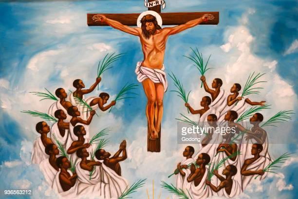 Namugongo catholic martyrs' shrine Kampala Church fresco Uganda