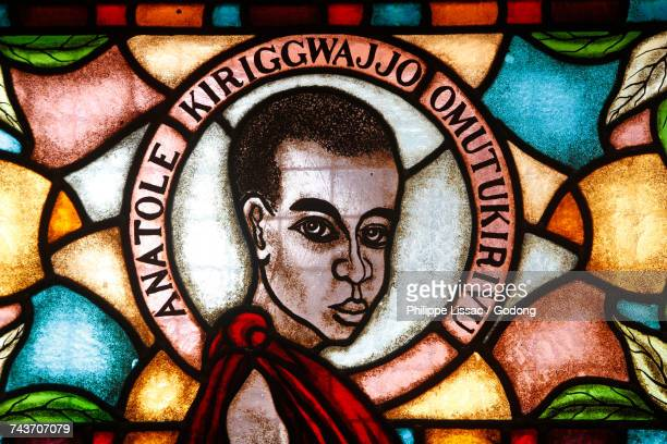 namugongo catholic martyrs shrine, kampala. stained glass in the church. martyr. uganda. - martyrs of uganda catholic church stock pictures, royalty-free photos & images