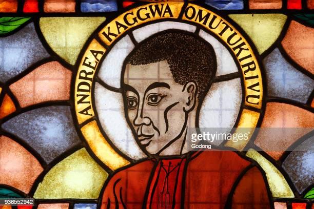Namugongo catholic martyrs' shrine Kampala Stained glass in the church Martyr Uganda