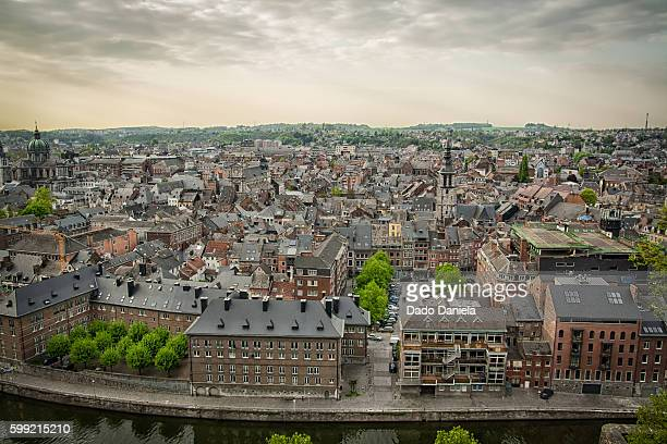 namur city panorama - liege stock pictures, royalty-free photos & images