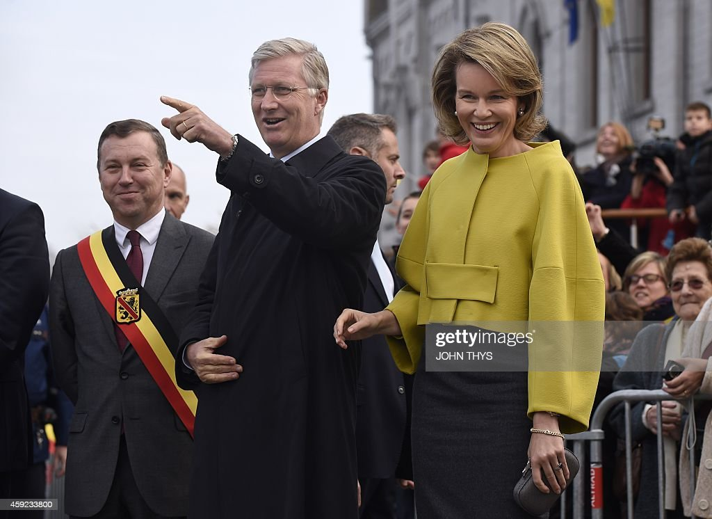 Namur province governor Denis Mathen, King Philippe - Filip of Belgium and Queen Mathilde of Belgium visit Couvin and Cerfontaine on 19 November 2014.