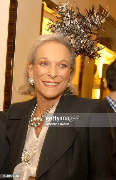 Nan Kempner in one of the new hats during Philip Treacy Shows His Spring 2003 Hat Collection at Bergdorf's at Bergdorf Goodman in New York City, NY,...