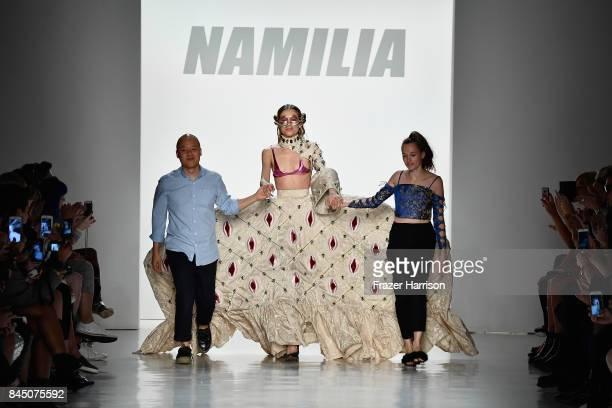 Nan Li a model and Emilia Pfohl walk the runway at the Namilia fashion show during New York Fashion Week The Shows at Gallery 3 Skylight Clarkson Sq...