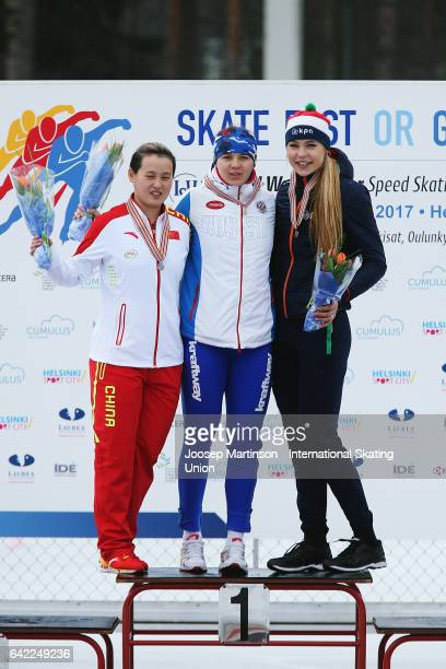 Nan Sun of China Daria Kachanova of Russia and Jutta Leerdam of Netherlands pose in the Ladies 500m medal ceremony during day one of the World Junior...