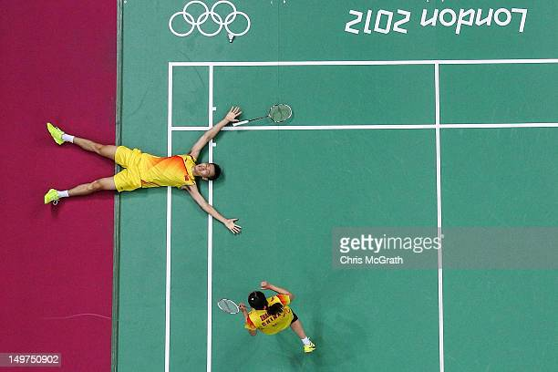 Nan Zhang and Yunlei Zhao of China celebrate winning the Mixed Doubles Badminton Gold Medal match against compatriots Chen Xu and Jin Ma of China on...