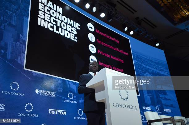 E Nana AkufoAddo President of the Republic of Ghana speaks at The 2017 Concordia Annual Summit at Grand Hyatt New York on September 19 2017 in New...