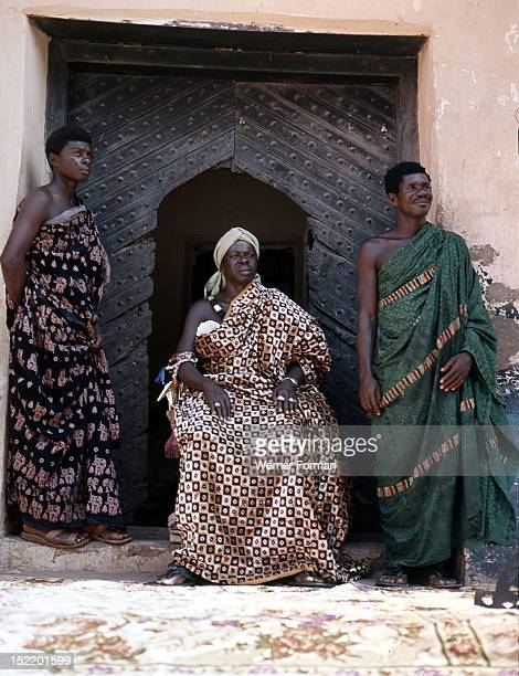 Nana Amonu X Omanhene of Anomabuand two members of his court Ghana Fante 1977 Anomabu