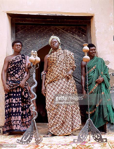 Nana Amonu X Omanhene of Anomabuand two members of his court with their insignia of office Ghana Fante 1977 Anomabu