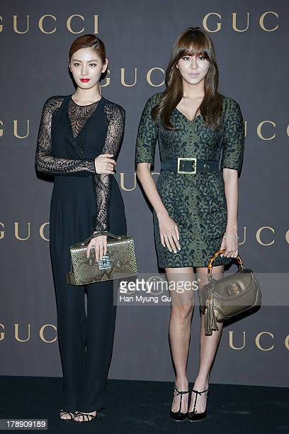 Nana and Uie of South Korean girl group After School attend during a promotional event for the Gucci 'House Of Artisan' at Gucci Gangnam Store on...