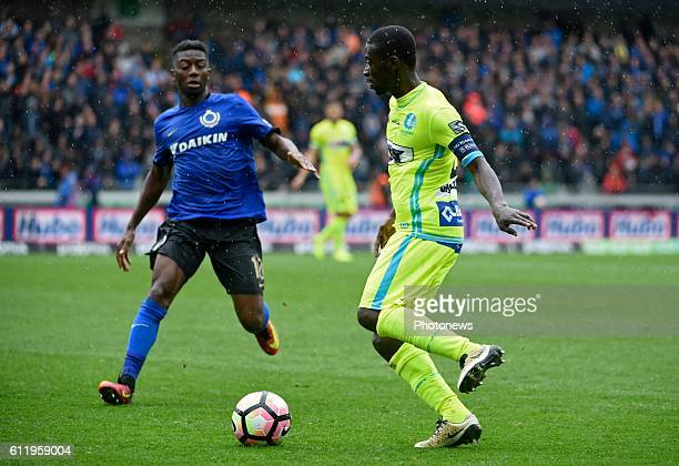 Nana Asare defender of KAA Gent and Abdoulay Diaby forward of Club Brugge pictured during Jupiler Pro League match between Club Brugge KV and KAA...