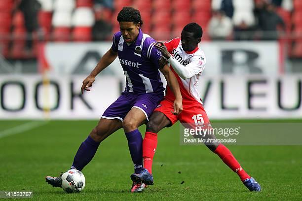 Nana Asare of Utrecht and Virgil van Dijk of Groningen battle for the ball during the Eredivisie match between FC Utrecht and FC Groningen on March...