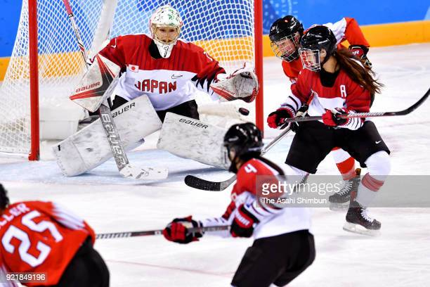 Nana Fujimoto of Japan makes a save during the Women's Ice Hockey Classification game on day eleven of the PyeongChang 2018 Winter Olympic Games...