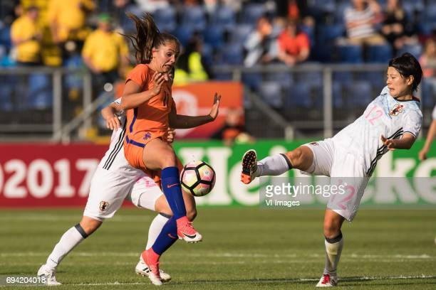 Nana Ichise of Japan Sherida Spitse of the Netherlands Naomoto Hikaru of Japanduring the friendly match between the women of The Netherlands and...