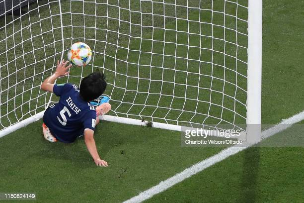 Nana Ichise of Japan tries but fails to stop the ball from rolling into the net for England's 1st goal during the 2019 FIFA Women's World Cup France...