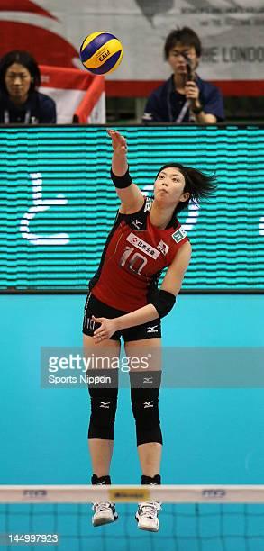Nana Iwasaka of Japan serves during the FIVB Women's World Olympic Qualification tournament match between Japan and Peru at Yoyogi Gymnasium on May...