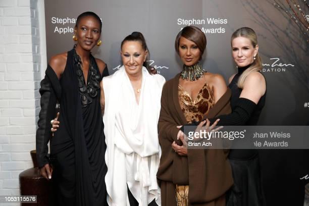 Nana Keita Donna Karan Iman and Jennifer Ashton attend the Stephan Weiss Apple Awards at Urban Zen on October 24 2018 in New York City