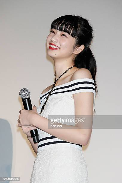 Nana Komatsu attends the stage greeting for 'Tomorrow I Will Date With Yesterday's You' at TOHO Cinemas Scalaza on December 25 2016 in Tokyo Japan