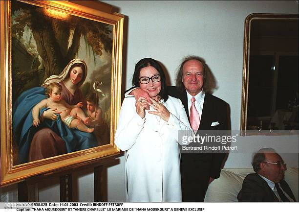 Nana Mouskouri and Andre Chapelle the wedding of Nana Mouskouri in Geneva painting