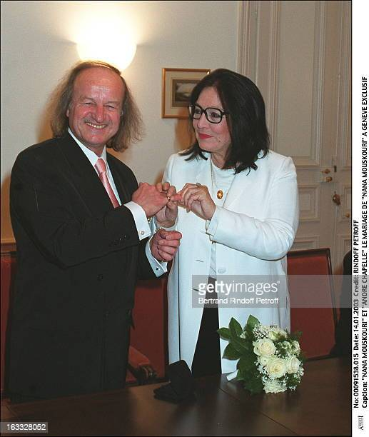 Nana Mouskouri and Andre Chapelle the wedding of Nana Mouskouri in Geneva bouquet of flowers