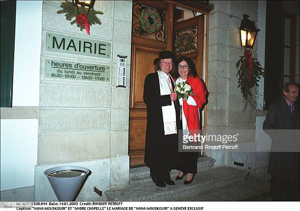 """Nana Mouskouri and """"Andre Chapelle"""" the wedding of """"Nana Mouskouri"""" in Geneva bouquet of flowers."""