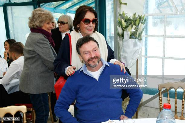 Nana Mouskouri and Bruno Finck attend the Garden Party organized by Bruno Finck companion of JeanClaude Brialy at Chateau De Monthyon on September 16...