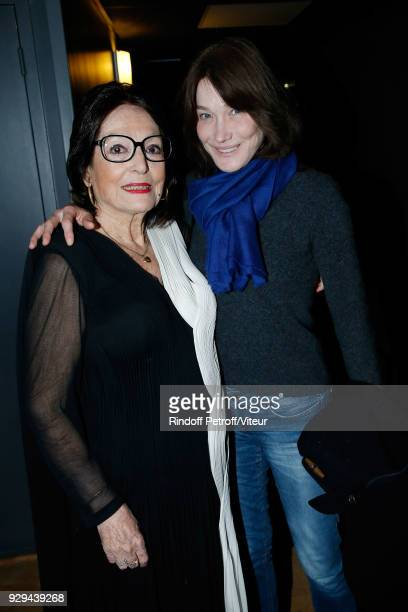 Nana Mouskouri and Carla Bruni Sarkozy Sarkozy attend Nana Mouskouri Forever Young Tour 2018 at Salle Pleyel on March 8 2018 in Paris France
