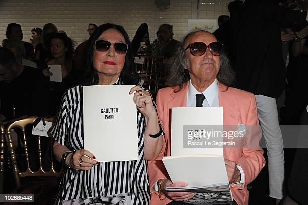 Nana Mouskouri and guest attend the JeanPaul Gaultier show as part of the Paris Haute Couture Fashion Week Fall/Winter 2011 on July 7 2010 in Paris...
