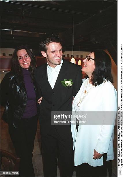 "Nana Mouskouri and her children Helene and Nicolas the wedding of ""Nana Mouskouri"" in Geneva."