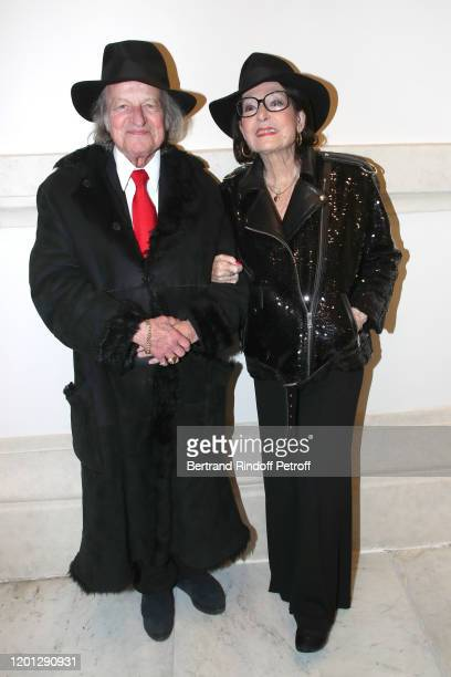 Nana Mouskouri and her husband Andre Chapelle attends the Jean-Paul Gaultier Haute Couture Spring/Summer 2020 show as part of Paris Fashion Week at...
