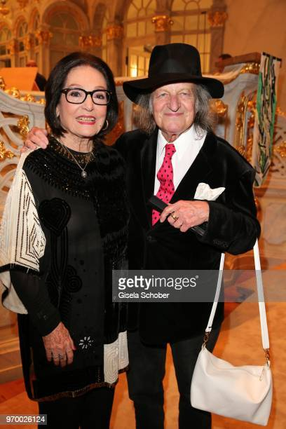 Nana Mouskouri and her husband Andre Chapelle during the European Culture Awards TAURUS 2018 at Dresden Frauenkirche on June 8 2018 in Dresden Germany