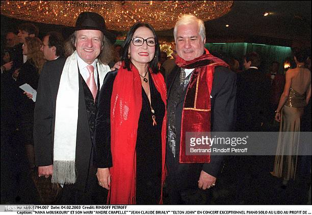 Nana Mouskouri and her husband Andre Chapelle Jean Claude Brialy Elton John exceptional Piano Solo concert at the Lido for the benefit of his...
