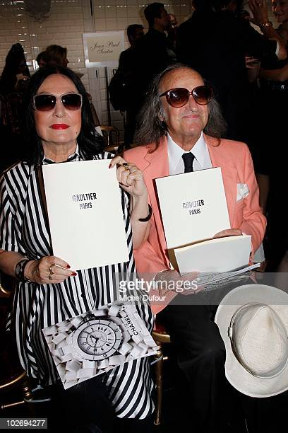 Nana Mouskouri and her husband attend the Jean Paul Gaultier fashion show as part of the Paris Haute Couture Fashion Week Fall/Winter 2011 at on July...
