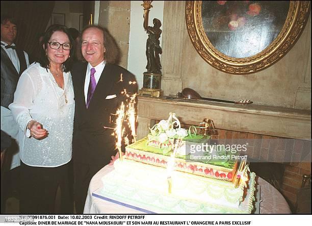 "Nana Mouskouri and her husband wedding dinner at the restaurant ""L'Orangerie"" in Paris woman man cake."